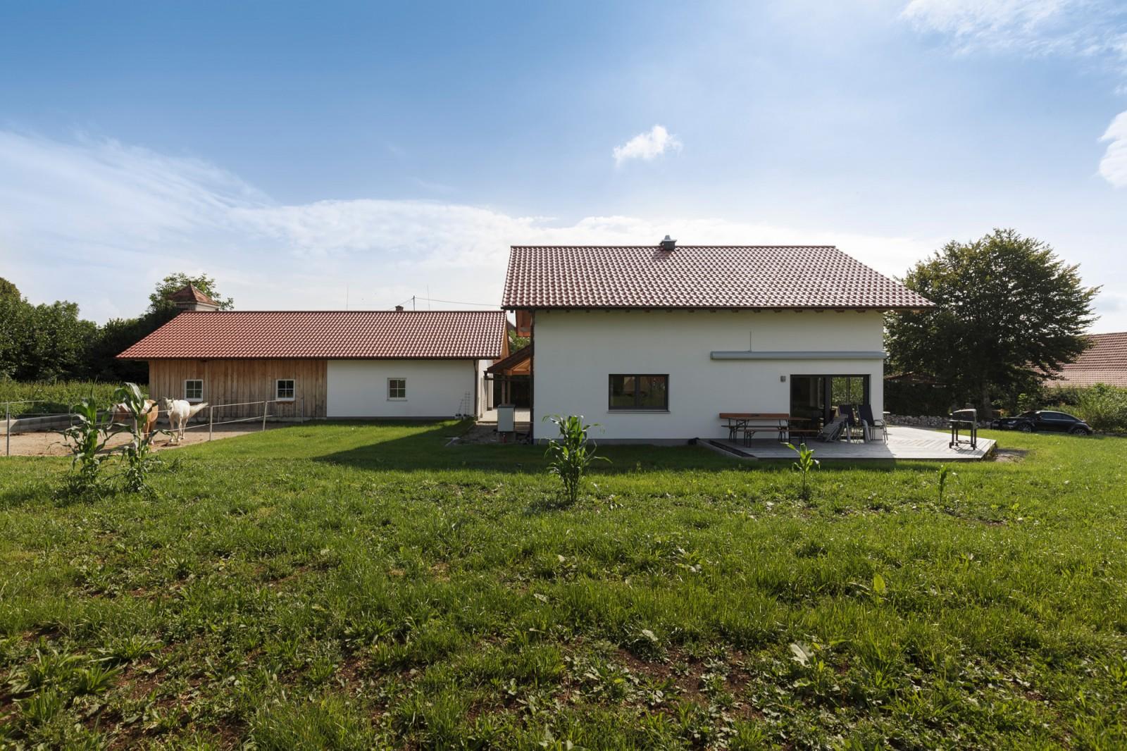 Einfamilienhaus mit einer Massiv-Holz-Mauer